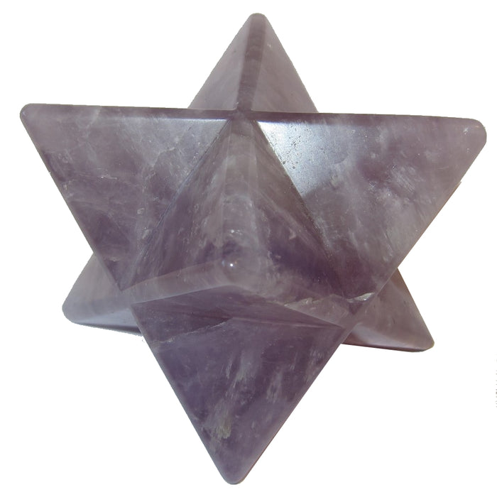 "Amethyst Polygon 3.5"" Collectible Stunning Purple Merkaba Star Spiritual Energy Meditation Crystal Carving C50"