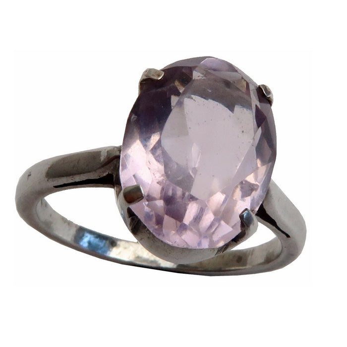 faceted oval amethyst gemstone in silver ring