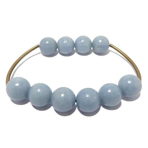 round blue angelite and antique curved metal stretch bracelet