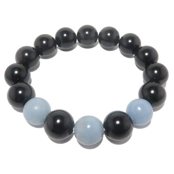 blue angelite and black rainbow obsidian stretch bracelet