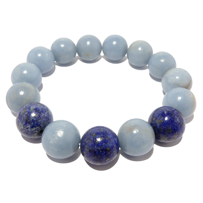 genuine blue angelite and lapis lazuli stretch bracelet beaded with natural gemstone beads, handmade at satin crystals boutique