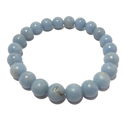 blue angelite round beaded stretch bracelet