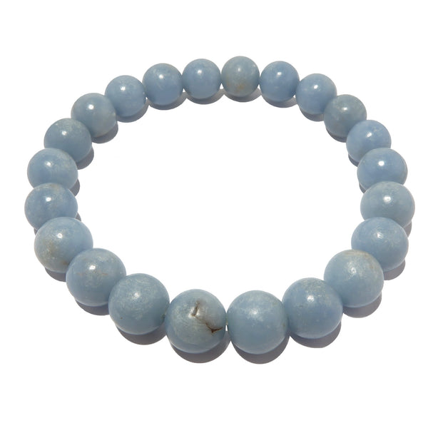 Angelite Bracelet 8mm Light Blue Round Genuine Gemstone Anhydrite Soothing Stretch B08