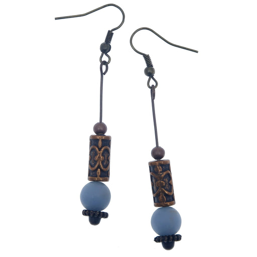 "Angelite Antiqued Copper Earrings 2.5"" Ornate Dangle Blue Stones"