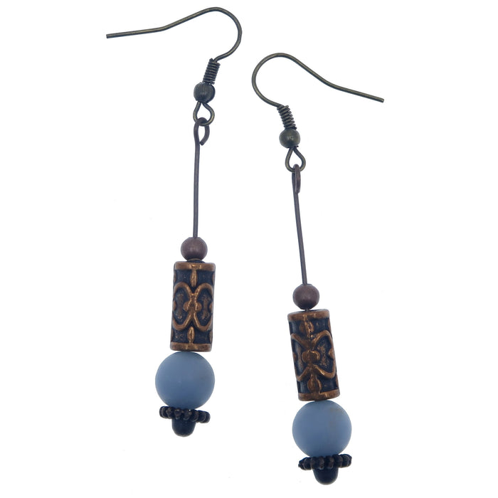 angelite and antique copper beaded dangle earrings