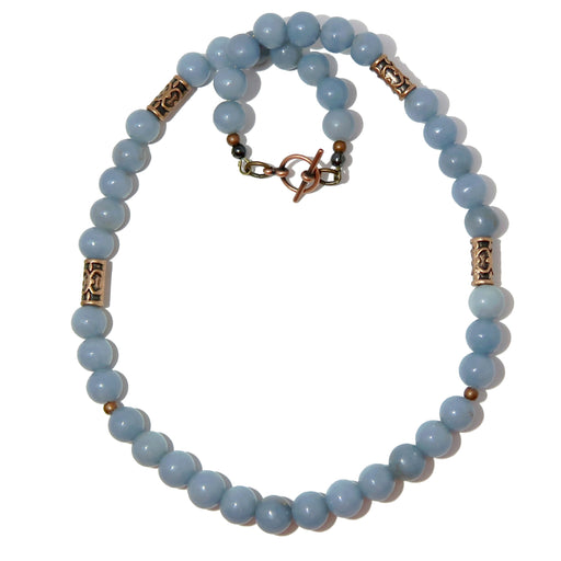 Angelite Necklace 9mm Round Beaded Powder Blue Gemstone Antiqued Brass Calming Stone B01