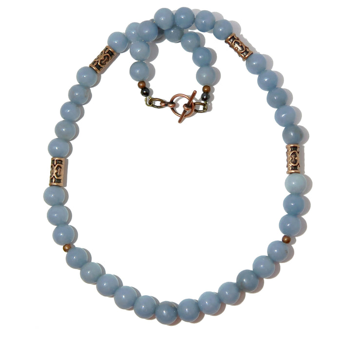 Angelite Antiqued Necklace Round Beaded Blue Gemstone Timeless Nature