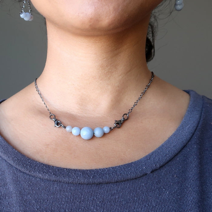 Angelite Cloud Necklace Blue Gemstone Black Gunmetal Chain Carefree Dreamer