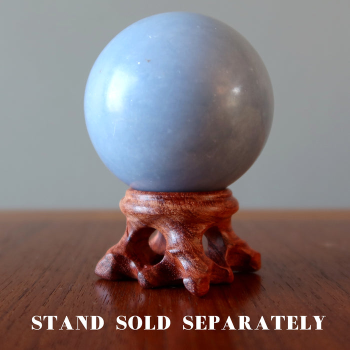 angelite sphere on fancy wood display stand, stand sold separately