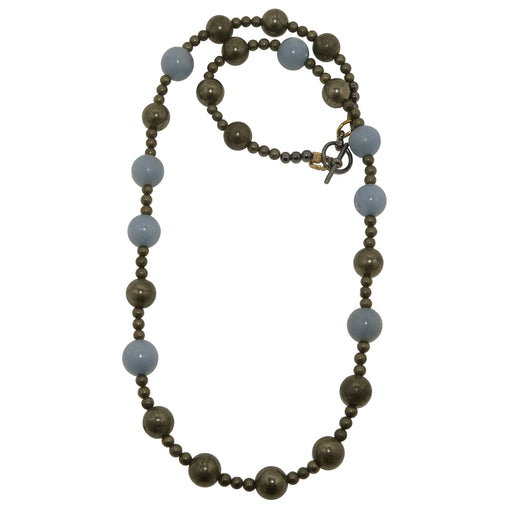 Angelite Pyrite Necklace Blue Gemstone Round Beaded Fools Gold