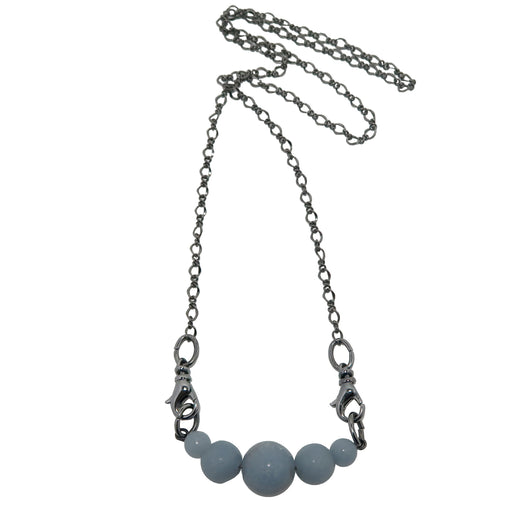 Angelite Necklace Cloud Designer Genuine Glacier Blue Gemstone Black Gunmetal Chain B03