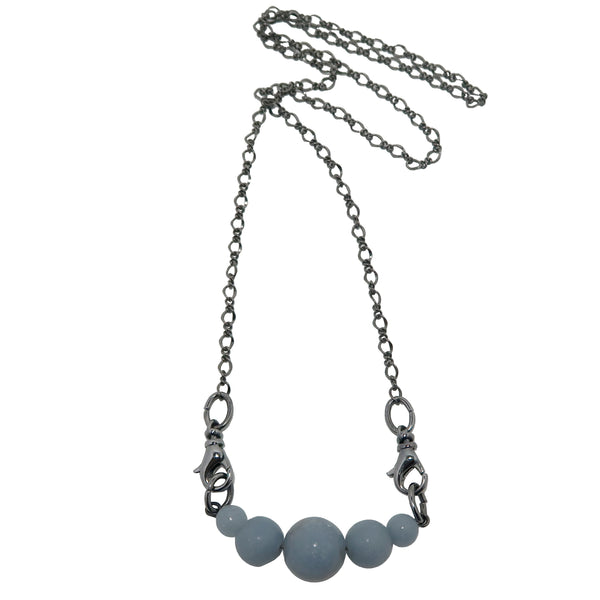 Angelite Necklace Boutique Glacier Blue Gemstone Gunmetal Chain Cloud B03