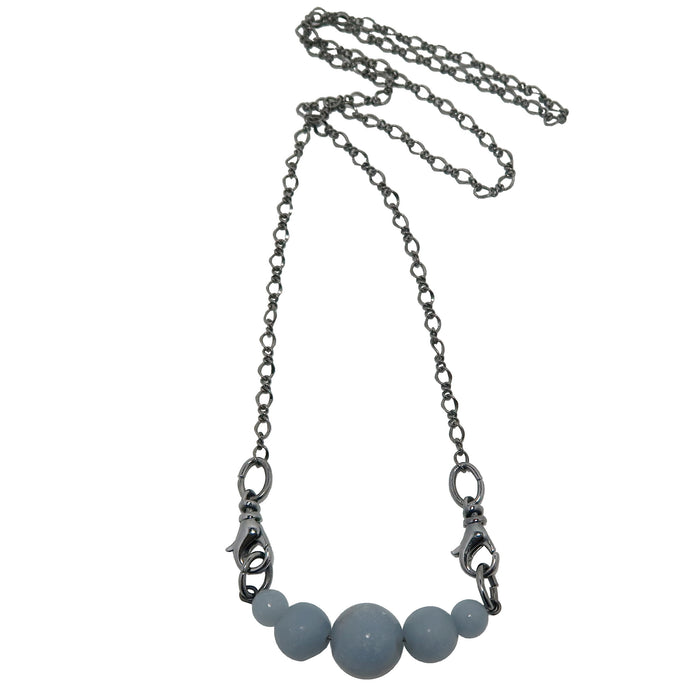 Angelite Cloud Necklace Blue Gemstone Black Gunmetal Chain