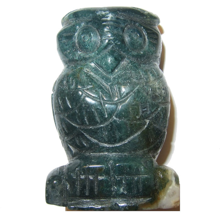 Moss Agate Gemstone Owl Carving Natural Crystal Messenger Bird 2.5""