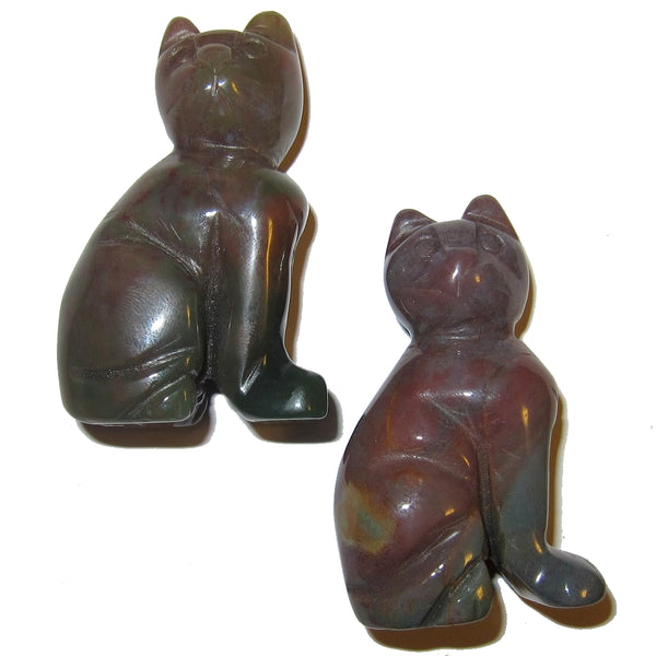 "Animal Cat Bloodstone 2.3"" Collectible Pair of Red Green Crystal Kitties Soul Mate Guardian Figurine Stone Adorable Set C50"
