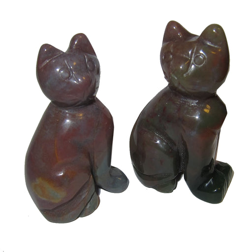 Bloodstone Cat Carving Set Red Green Figurine Power Animal Pair