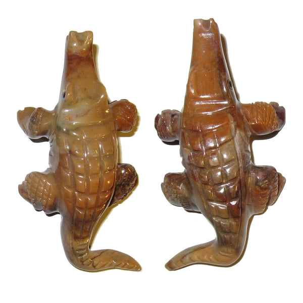 "Animal Crocodile Soapstone 3.5"" Collectible Pair of Brown Red Alligator Carving Spirit Guide Statues C01"