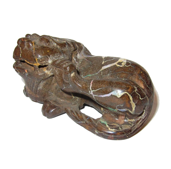 Animal Dragon Opal 50 Lucky Brown Feng Shui Lion Orange Blue Rainbow Stripe Figurine Statue 3.3""