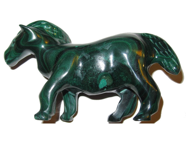 Animal Horse Malachite 01 Fancy Green Carving Stallion Beauty Energy Statue Stone 3.5""