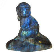 Animal Monkey Labradorite 01 Incredible Blue Rainbow Crystal Carving Collectible Spirit Guide Stone 2.7