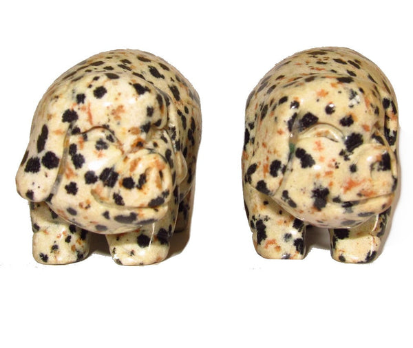 Animal Pig Jasper Dalmatian 01 Set of 2 Adorable Black White Spotted Piglets Statue Gift Carving 2""