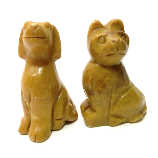 Spirit Animal Set Cat & Dog Jasper Mustard Yellow Stone Figurine Pair 2""