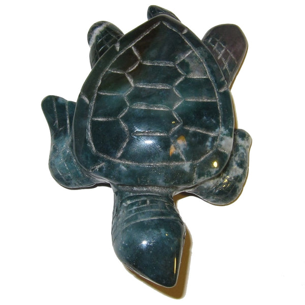"Animal Turtle Agate Moss 3.8"" Collectible Green Red Tortoise Carving Shamanic Journey Guide Stone Crystal C02"