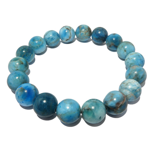 genuine blue apatite gemstone stretch bracelet, beaded with round stone beads on elastic jewelry