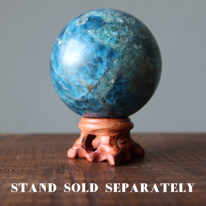 apatite ball on wood display stand, which is sold separately