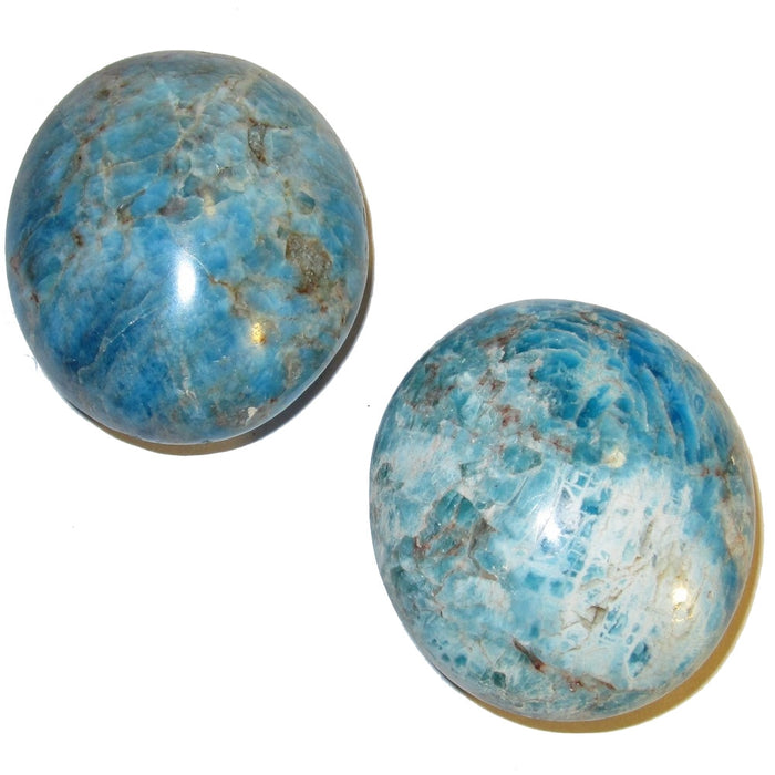 Apatite Polished Stone Pair of Blue Oval Crystal Healing Gemstones