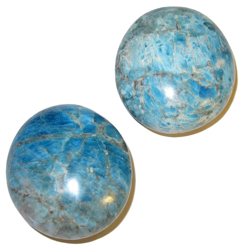 "Apatite Polished Stone 2"" Pair of Blue Oval Crystal Healing Throat Chakra Gemstone Rocks C57"