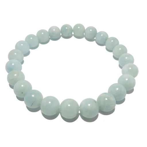 Aquamarine Bracelet 7mm Natural Dreamy Blue Round Stretch Calming Gemstone