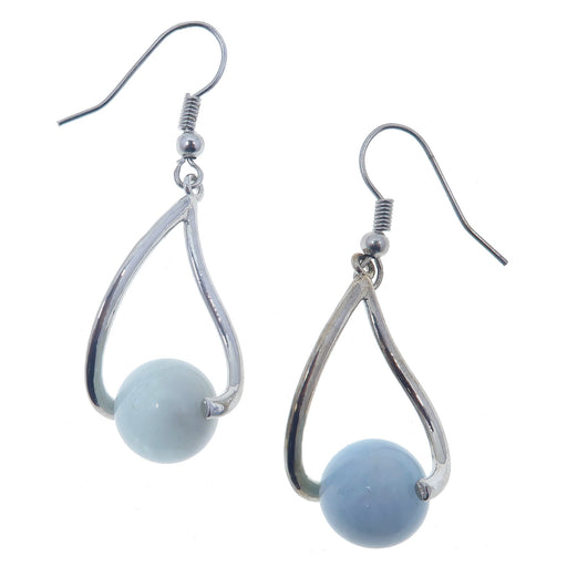 "Aquamarine Earrings 1.8"" Natural Blue Crystal Healing Stones Fairytale Princess Dangle 02"