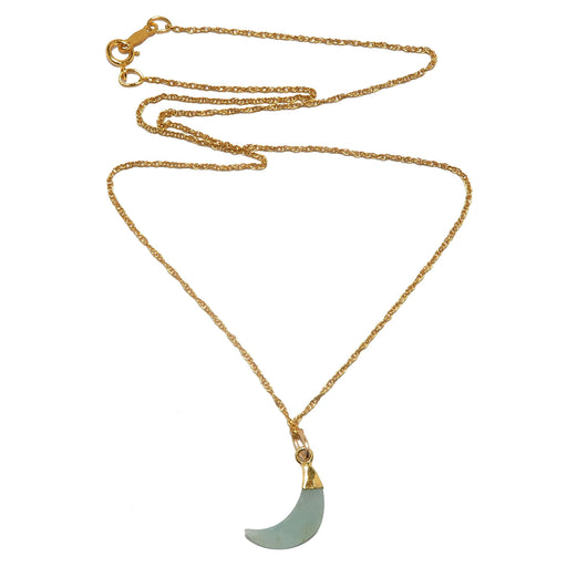 aquamarine crescent moon pendant on gold necklace