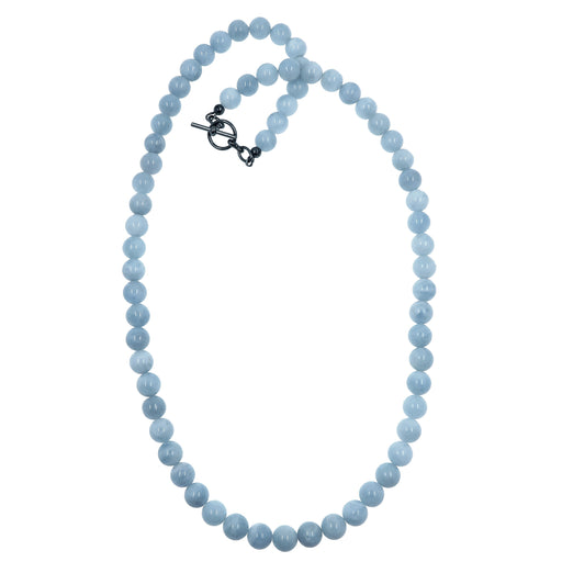 blue aquamarine necklace beaded with gunmetal toggle clasp