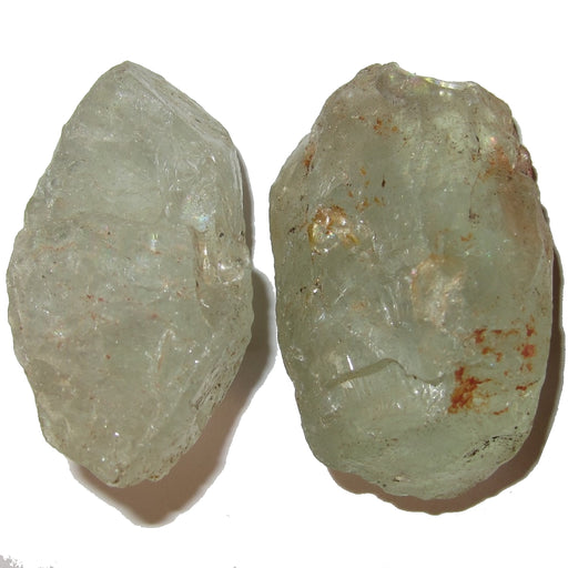 "Aquamarine Raw Gemstone 2.3"" Collectible Pair of Clear Blue Rocky Rainbow Boulders C08"