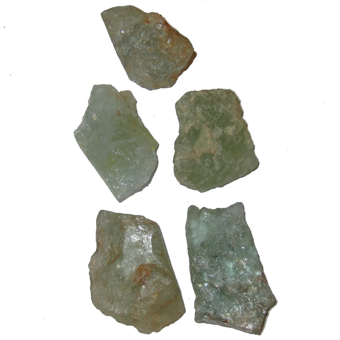 "Aquamarine Raw Gemstone 1.7-2.1"" Collectible Set of 5 Sea Green Blue Minerals Grid Layout Rocks C13"