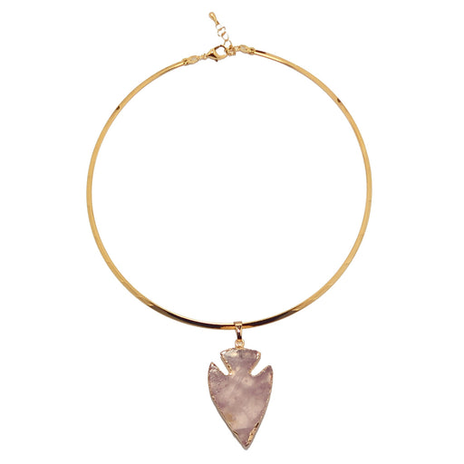 Rose Quartz Arrowhead Necklace Pink Love Gemstone Gold Choker Neckwire