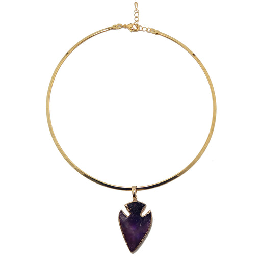 purple amethyst arrowhead gold electroplated pendant on gold choker necklace