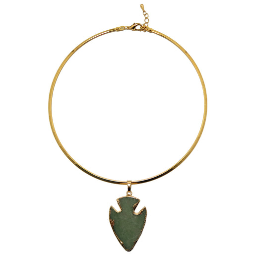 "Aventurine Arrowhead Necklace 15"" Green Gemstone Point Gold Choker"