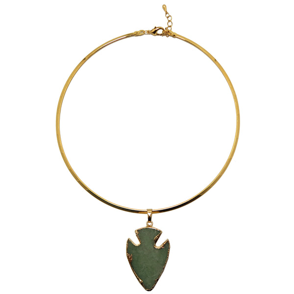 "Arrowhead Necklace 15"" Boutique Gemstone Gold Choker Neckwire Green Aventurine B04"