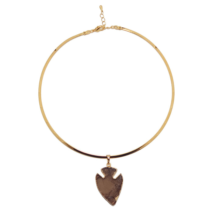 Smoky Quartz Arrowhead Necklace Protective Brown Gemstone Point Gold Choker Neckwire