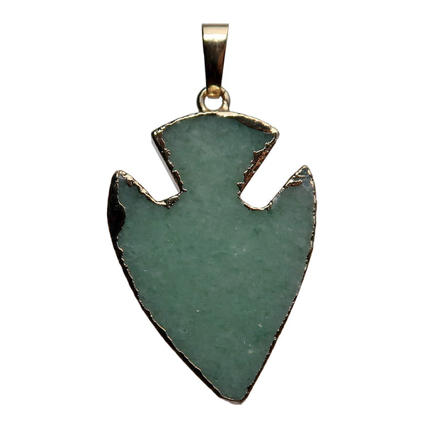 Arrowhead Pendant Boutique Gold Electroplated Green Gemstone Healing B01 (Aventurine)