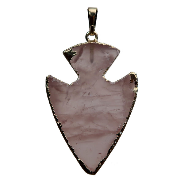 Arrowhead Pendant Boutique Electroplated Pink Gemstone Charm Healing B01 (Rose Quartz)