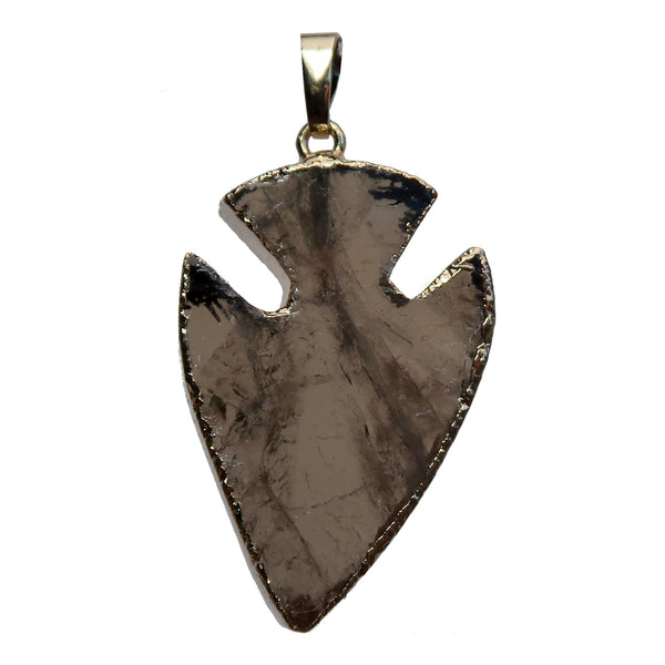 Arrowhead Pendant Boutique Gold Electroplated Brown Gemstone Charm B01 (Smoky Quartz)