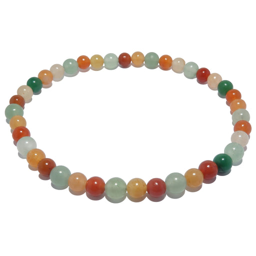 red, yellow, and green aventurine round beaded stretch ankle bracelet