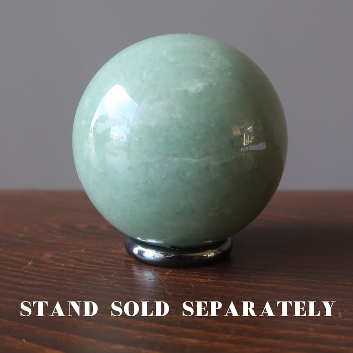 green aventurine ball on hematine ring stand which is sold separately