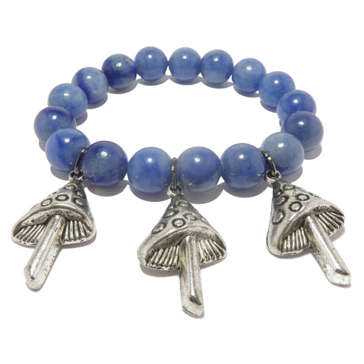 blue aventurine beaded stretch bracelet featuring silver mushroom charms