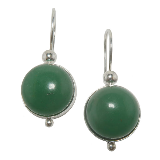 green aventurine circles in sterling silver earrings