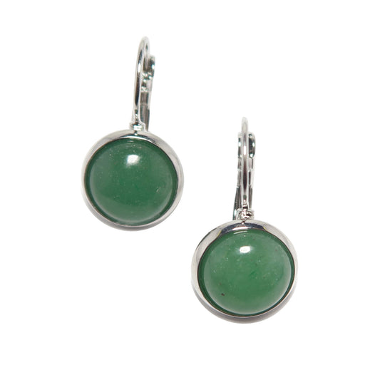 Aventurine Earrings Green Round Gemstone Silver Lever Back Jewelry
